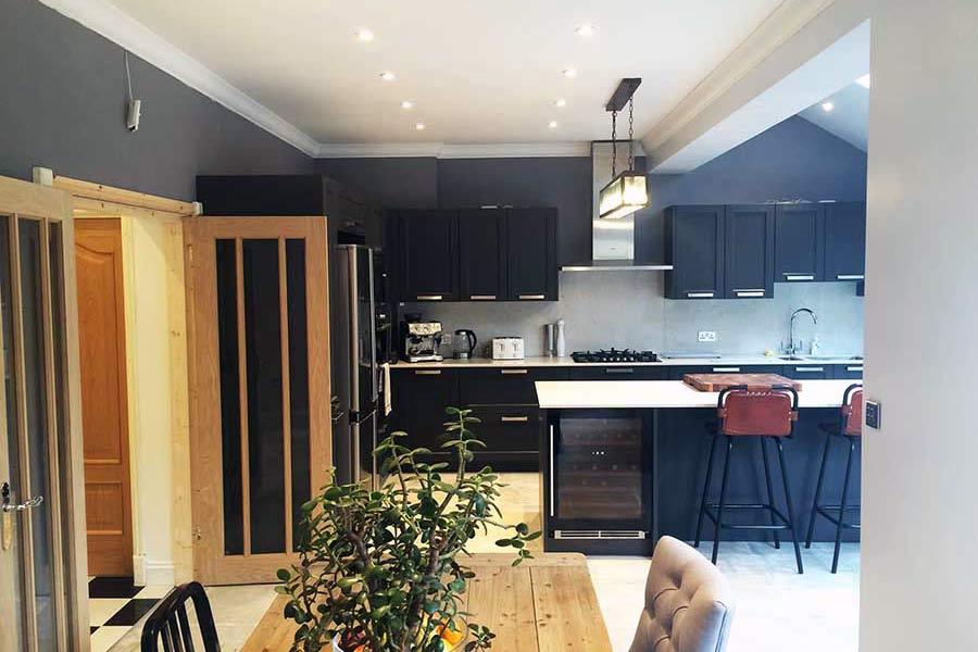new black grey kitchen extension in Kent