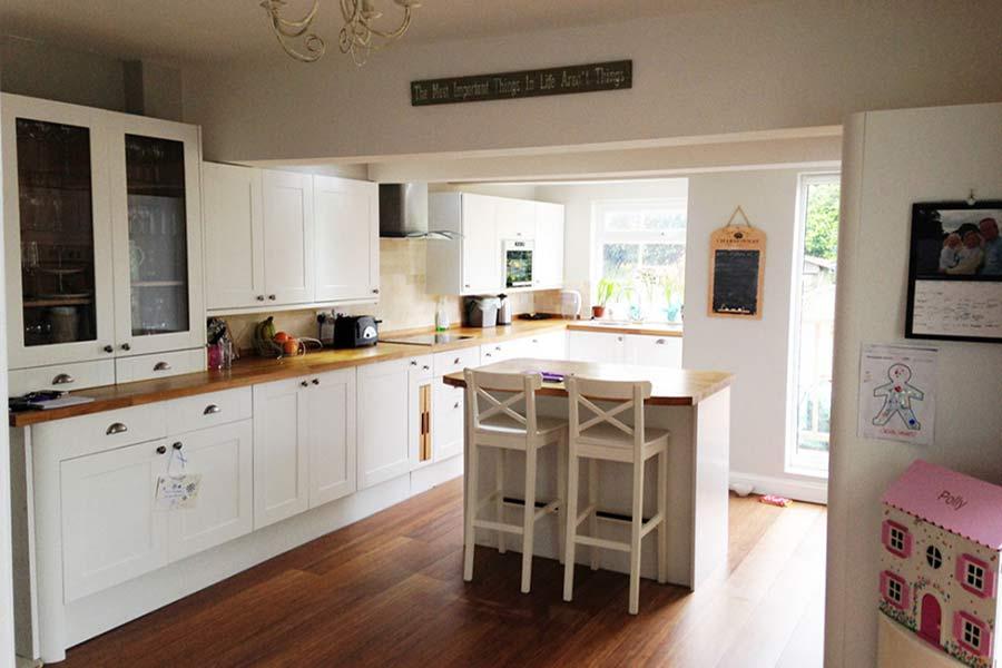 new knock through kitchen extension