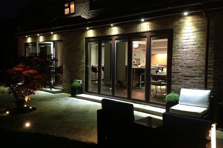 orangery kitchen extension at night