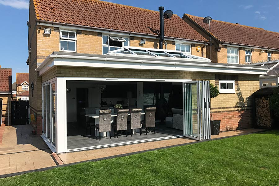 orangery kitchen extension in Kent with bi fold doors and a roof lantern