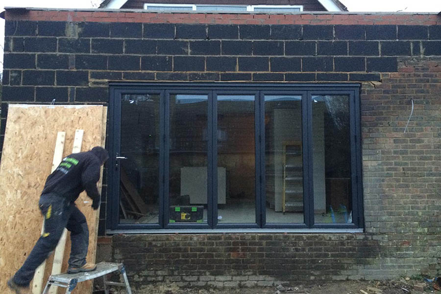 outside view kitchen extension under construction